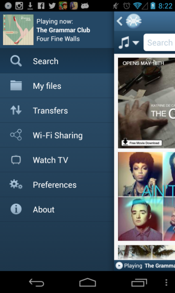 Screenshot of the new FrostWire for Android navigation menu