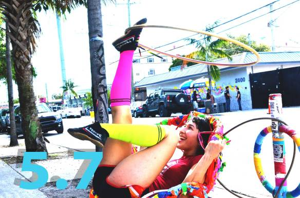 Salsa Sara hoops in Wynwood, Miami for the FrostWire Team