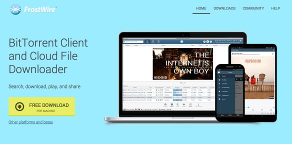 Screenshot of the new FrostWire.com - September 2014
