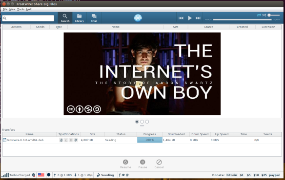 FrostWire 6.0.0 running on Ubuntu Linux