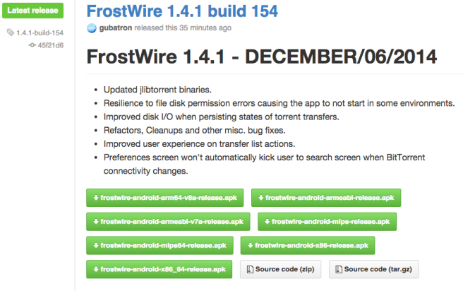 Download FrostWire 1.4.1 build 154 binaries and source code from github