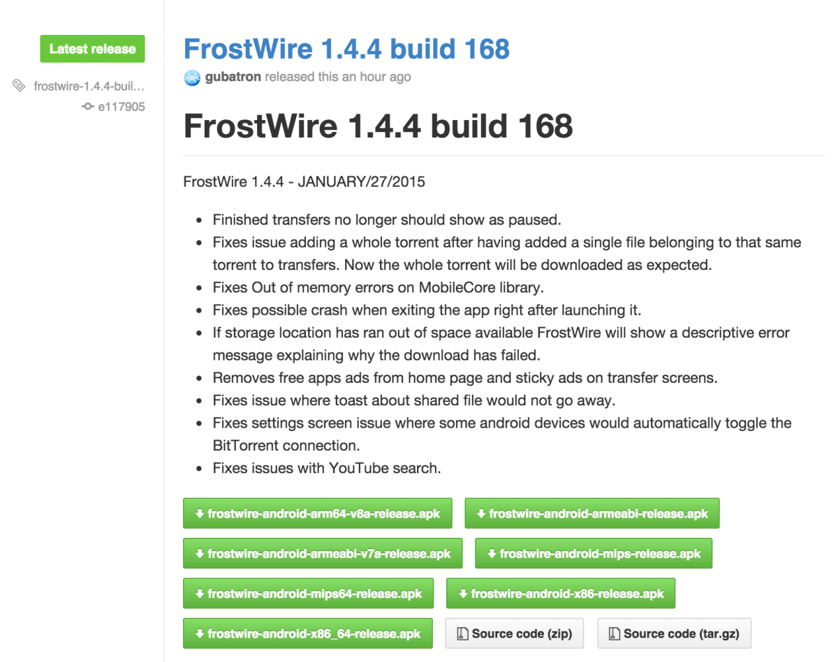 download Frostwire 2015 torrent