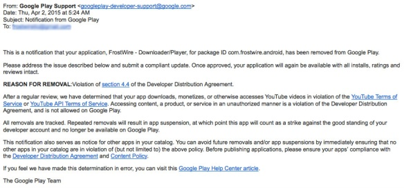 Google Play FrostWire Removal Notice Email