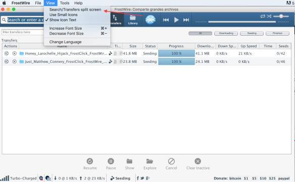 frostwire view select transfer split